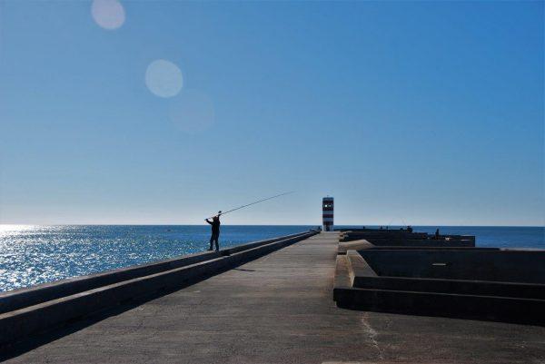 Angler an der Douro-Mündung