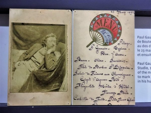 Speisekartengestaltung gegen Logis, von Paul Gauguin